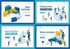 Ställ in av att landa sidor i isometriskt begrepp Datasamling och anmäla för skattformer stock illustrationer