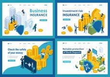 Ställ in av att landa sidor i isometriskt begrepp av skyddande pengar och säkerheter från stöld royaltyfri illustrationer