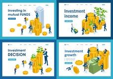 Ställ in av att landa sidor av isometriska pengar som investerar begreppet för vinsttillväxt, aktieägare och affärsmän vektor illustrationer