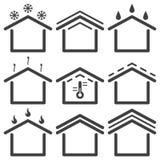 Ställ in av att taklägga symboler Vektor på vit bakgrund stock illustrationer