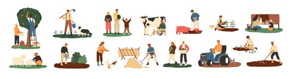 Ställ in av bönder eller jordbruks- arbetare som planterar skördar och att samla skörden och att samla äpplen som matar lantgårdd stock illustrationer