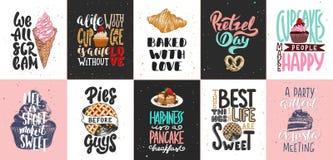 Ställ in av bagerit och söta matbokstäveraffischer, hälsningkort, garnering, tryck Hand drog typografidesignbest?ndsdelar stock illustrationer