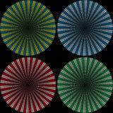 Ställ in av bakgrunder från bollar som består av kulöra små bollar i form av strålar royaltyfri fotografi