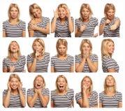 Ställ in av bilder av en ung kvinna med olika sinnesrörelser, vit bakgrund, närbild arkivbild