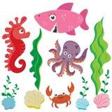 Ställ in av bilder för marin- liv i tecknad filmstil: bläckfisk marin- skridsko, haj, krabba som isoleras på vit bakgrund royaltyfri illustrationer