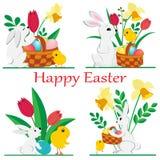 Ställ in av bilder av påskkaniner och hönor med vårpåskliljor och tulpan och målade ägg i en korg på vit bakgrund vektor illustrationer