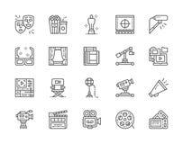 Ställ in av biolinjen symboler Popcorn, maskeringar, Clapperbräde, biljetter och mer royaltyfri illustrationer