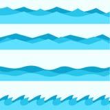 Ställ in av blåa vågor, vätskesymboler, havstema vektor illustrationer