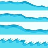 Ställ in av blåa vågor, vätskesymboler, havstema royaltyfri illustrationer