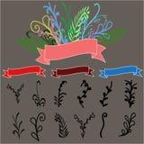 Ställ in av blommor för att dekorera stock illustrationer