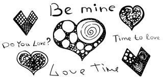 Ställ in av bokstäver och hjärtor Abstrakt begrepp valentin för dag s vektor 14 Februari förälskelsetid till jag älskar dig Var royaltyfri illustrationer