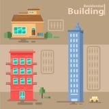 Ställ in av bostads- byggnad byggnadsvektor vektor illustrationer