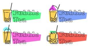 Ställ in av bubblate förser med märke vektorlinjen etiketter vektor illustrationer