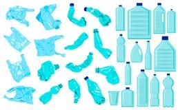 Ställ in av cellofanpåsar, smulpajflaskor och plast- flaskor Plast- f?rorening Ekologiproblem vektor illustrationer