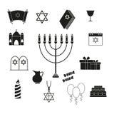 Ställ in av Chanukkah ferien av symboler royaltyfri illustrationer