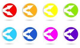 Ställ in av cirkelsymboler eller knappar med pilar stock illustrationer