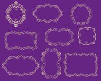 Ställ in av dekorativa florish avdelare, gränser för kort vektor illustrationer