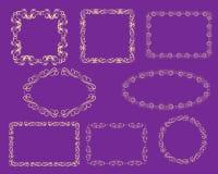 Ställ in av dekorativa florish ramar arkivbild