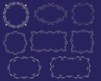 Ställ in av dekorativa florish ramar vektor illustrationer