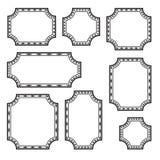 Ställ in av dekorativa rektangulära ramar, svart översiktsdesign vektor vektor illustrationer