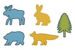 Ställ in av den blåa älgen, den blåa björnen, gul kanin, den gula räven, gröna grankonturer royaltyfri illustrationer