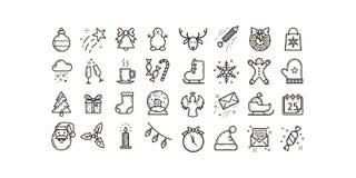 Ställ in av den enkla linjen symboler för konstvektoröversikt på temat av ferier för jul och för det nya året vektor illustrationer
