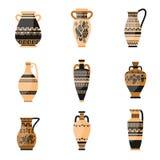 Ställ in av den forntida, ornamethal gamla grek eller rome vasen vektor illustrationer