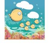 Ställ in av den gulliga familjpufferfisken som blåser i havet royaltyfri illustrationer