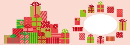 Ställ in av den gulliga närvarande asken för jul och cirkelram royaltyfri illustrationer