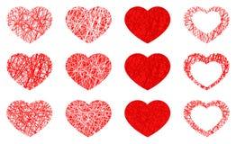 Ställ in av den isolerade röda hjärtasymbolen, förälskelsesymbolsamling på vit bakgrund vektor illustrationer