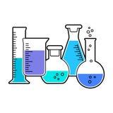 Ställ in av den kemiska flaskan också vektor för coreldrawillustration royaltyfri illustrationer