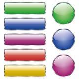 Ställ in av den kulöra skinande rengöringsdukexponeringsglasknappen med reflexion stock illustrationer