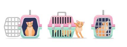 Ställ in av den manuella plast- bärande biltransporten för tre positioner för katter på vit bakgrund Främre sikt för kattbärare,  vektor illustrationer