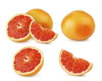 Ställ in av den mogna grapefrukten på vit bakgrund, isolerat objekt royaltyfri fotografi