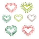 Ställ in av den olika färgrika hjärtawhithprydnaden royaltyfri illustrationer