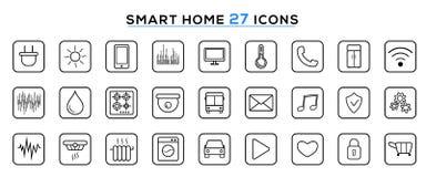 Ställ in av den smarta hem- linjen symboler E Modern smart teknologi för husautomationsystem royaltyfri illustrationer