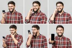 Ställ in av den stiliga emotionella mannen som använder mobiltelefonen royaltyfria foton