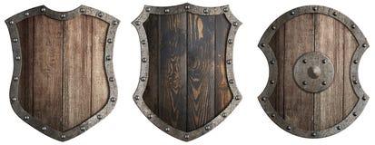Ställ in av den träsköldar isolerade illustrationen 3d royaltyfri illustrationer