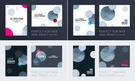 Ställ in av design av den mjuka mallräkningen för broschyren Färgglat modernt abstrakt begrepp, årsrapport med former för att brä arkivbild