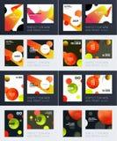 Ställ in av design av den mjuka mallräkningen för broschyren Färgglat modernt abstrakt begrepp, årsrapport med former för att brä arkivfoton