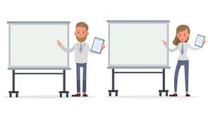 Ställ in av designen för affärsman- och affärskvinnateckenvektorn Presentation i olik handling med sinnesrörelser och att arbeta  vektor illustrationer