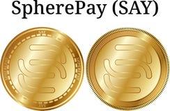 Ställ in av det fysiska guld- myntet SpherePay (SÄG), stock illustrationer