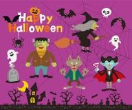 Ställ in av det halloween tecknet, symbol, objekt, objekt och roliga monster royaltyfri illustrationer