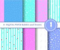 Ställ in av digitalt papper 8 med kaniner och hjärtor Fyrkantiga modeller av delikata färgkonturer av kaniner och band passande vektor illustrationer