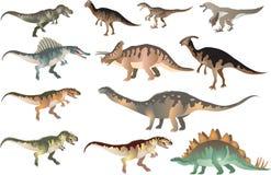 Ställ in av Dinosaurus T-rex, stegosaurusen, Pacycephalosaurus, Triceratop - vektorillustration stock illustrationer