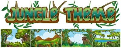 Ställ in av djungellandskap vektor illustrationer