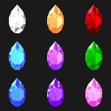 Ställ in av droppe formade gemstones av olika färger Juvlar för design stock illustrationer