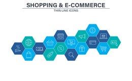 Ställ in av E-kommers och att shoppa rengöringsduksymboler i linjen stil Mobilen shoppar, den Digital marknadsf?ringen, kontokort royaltyfri illustrationer