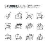 Ställ in av E-komrets och shoppingvektorlinjen symboler royaltyfri illustrationer