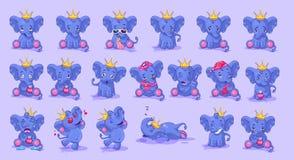 Ställ in av elefant med olika sinnesrörelser stock illustrationer